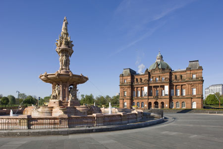 The Doulton Fountain and People's Palace at Glasgow Green