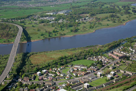 Aerial view east of Erskine Bridge