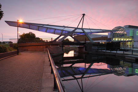 The Swan canal bridge canopy at Clydebank Town Centre