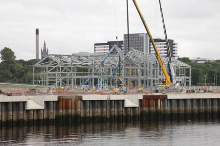 Construction of the steel frame commences