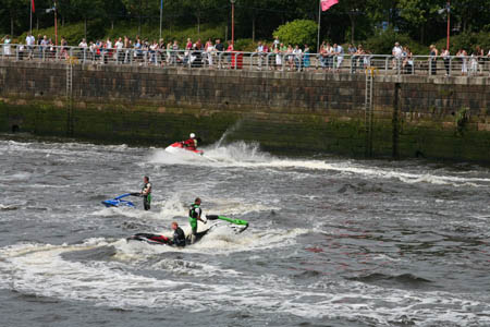 Jet skiers entertain the crowd