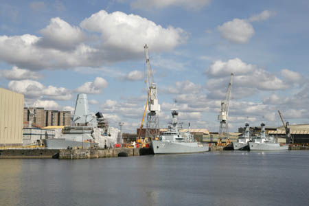 Military vessels at BAE Scotstoun