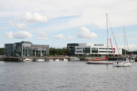 Yachts in the Canting Basin at Medius and The Hub
