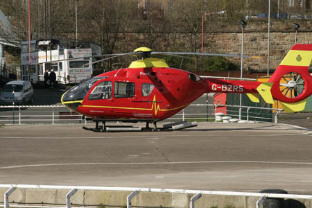 Helicopter at the City Heliport at SECC