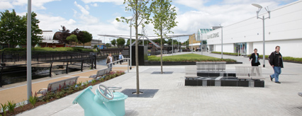 The newly transformed public realm on the North canal bank