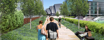 Artist's impression of Festival Quay's green space