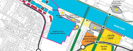 Plan of green network at Pacific Quay and Festival Park