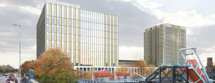 Impression of how the Riverside Campus will look from the River Clyde