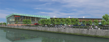 Architect's impression of the new Tesco Metro at Glasgow Harbour