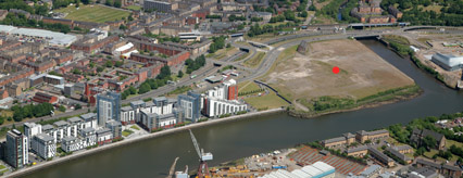 Aerial view of where the retail and leisure developments will be built at Glasgow Harbour