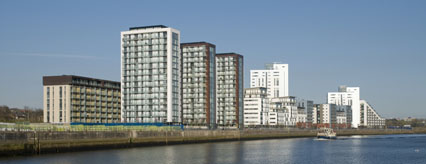 View of the phase 2 completed apartments from the River Clyde