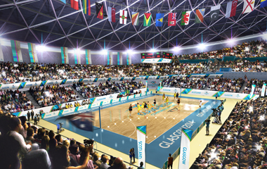 Netball at the Commonwealth Games, courtesy of Designhive/Glasgow 2014
