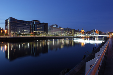 Looking across the River Clyde towards the IFSD at night