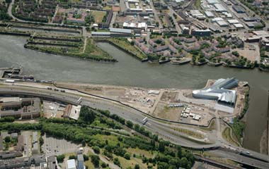 Aerial view of where Glasgow Harbour's commercial district will be built