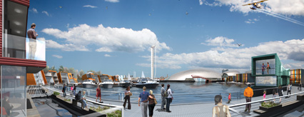 Architect's impression of how the Canting Basin could look by Floating Concepts & BACA Architects
