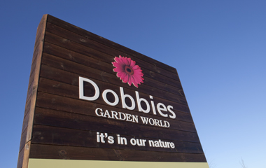 Signage for the new Dobbies Garden centre