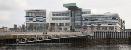 Queens Quay pontoon in front of Clydebank College
