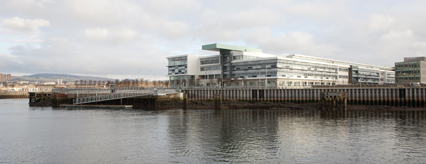 Queens Quay pontoon and Clydebank College