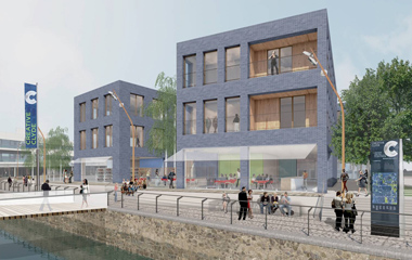 Architect's impression of Creative Clyde buildings, by 7N Architects