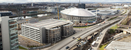The new mutli-storey car park adjacent The Hydro