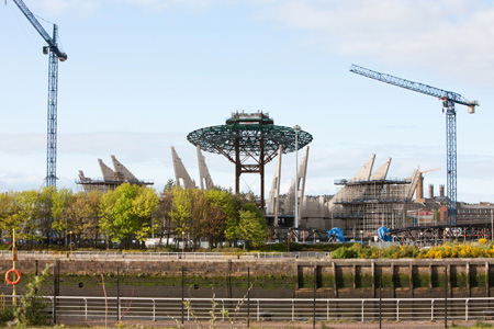 The SSE Hydro roof is lowered into place