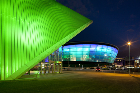 The SSE Hydro shows its colours ahead of the opening concert with Rod Stewart
