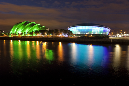 View of the completed SSE Hydro from the south bank of the River Clyde