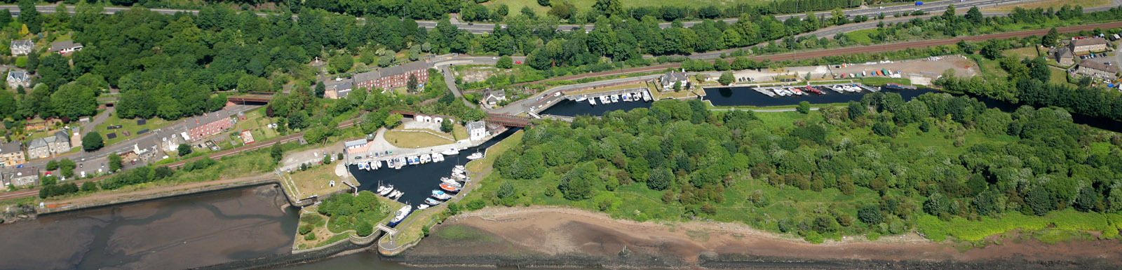 Bowling Harbour and the Forth & Clyde canal from the air