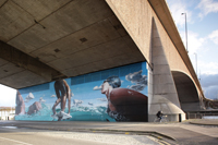 Sam Bates' mural under Kingston Bridge